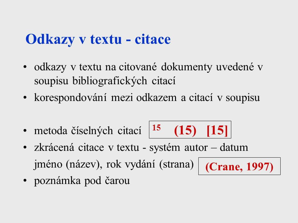 Odkazy v textu - citace 15 (15) [15]